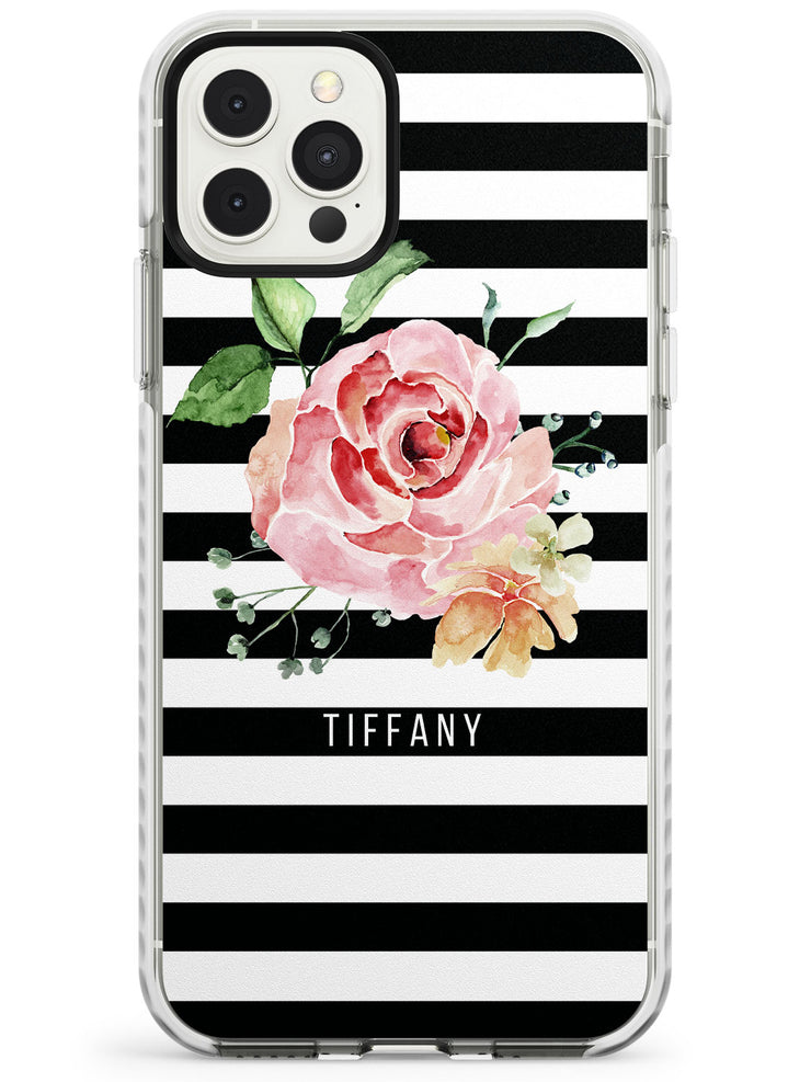 Large Rose & Stripes iPhone Case