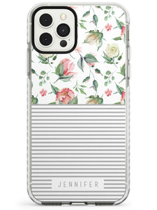 Light Floral Pattern & Stripes iPhone Case