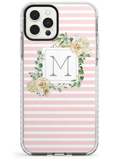 Pink Stripes & Floral Monogram Slim TPU Phone Case for iPhone 11 Pro Max