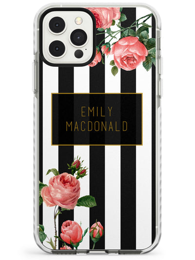 Black Stripes & Roses iPhone Case  Impact Case Custom Phone Case - Case Warehouse