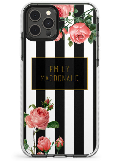 Black Stripes & Roses Slim TPU Phone Case for iPhone 11 Pro Max