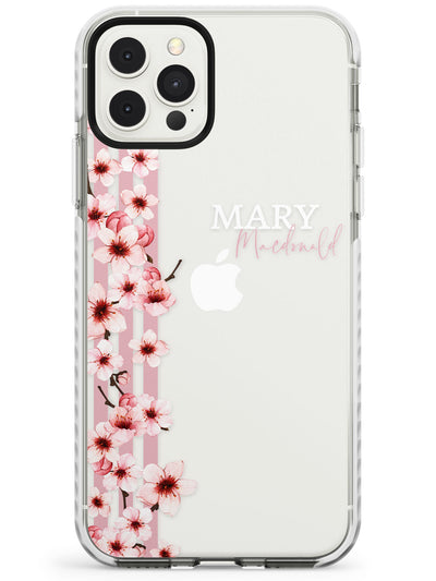Cherry Blossoms & Stripes iPhone Case  Impact Case Custom Phone Case - Case Warehouse