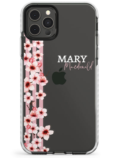 Cherry Blossoms & Stripes Transparent  Slim TPU Phone Case for iPhone 11 Pro Max