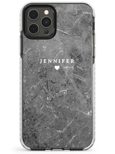Personalised Dark Grey Stone Marble Slim TPU Phone Case for iPhone 11 Pro Max