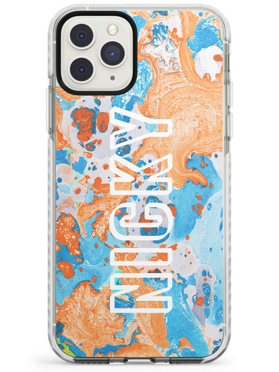 Orange & Turquoise Custom Marbled Paper Impact Phone Case for iPhone 11 Pro Max