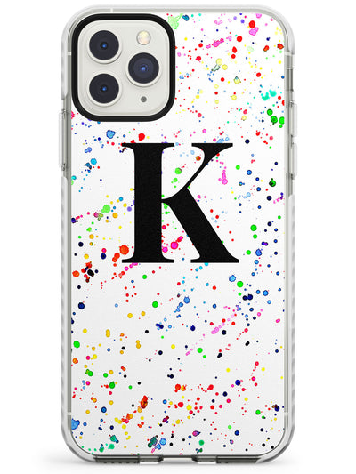 Rainbow Paint Splat + Monogram iPhone Case  Impact Case Custom Phone Case - Case Warehouse