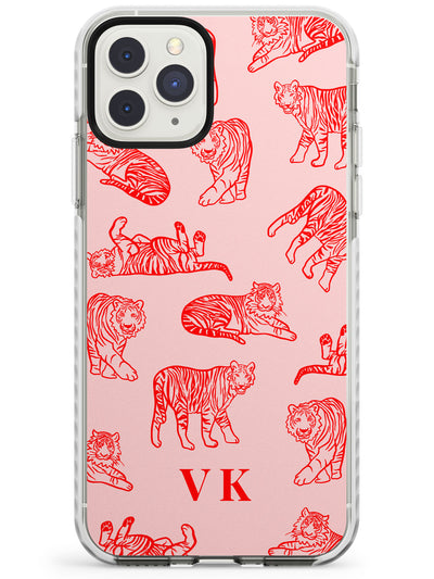 Red Tiger Outlines on Pink iPhone Case  Impact Case Custom Phone Case - Case Warehouse