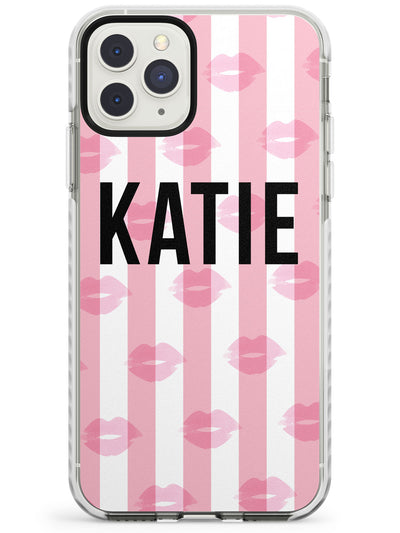 Pink Stripes & Lips iPhone Case  Impact Case Custom Phone Case - Case Warehouse
