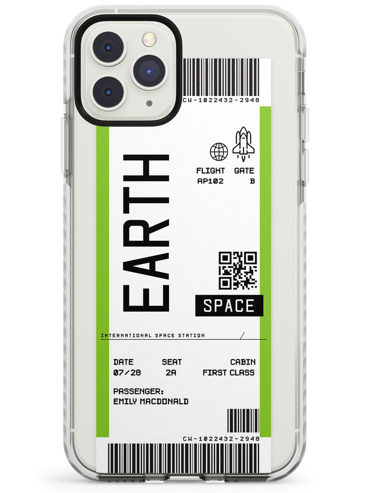Earth Custom Space Travel Ticket iPhone Case