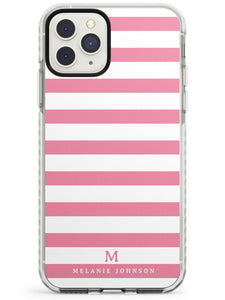Pink Stripes & Small Monogram iPhone Case