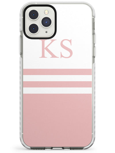 Minimal Pink Stripes & Initials iPhone Case  Impact Case Custom Phone Case - Case Warehouse