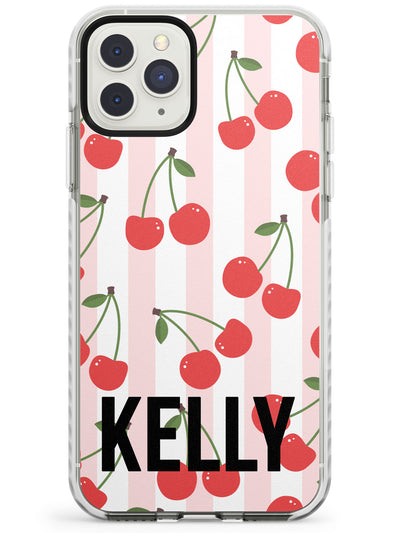 Pink Stripes & Cherries iPhone Case  Impact Case Custom Phone Case - Case Warehouse
