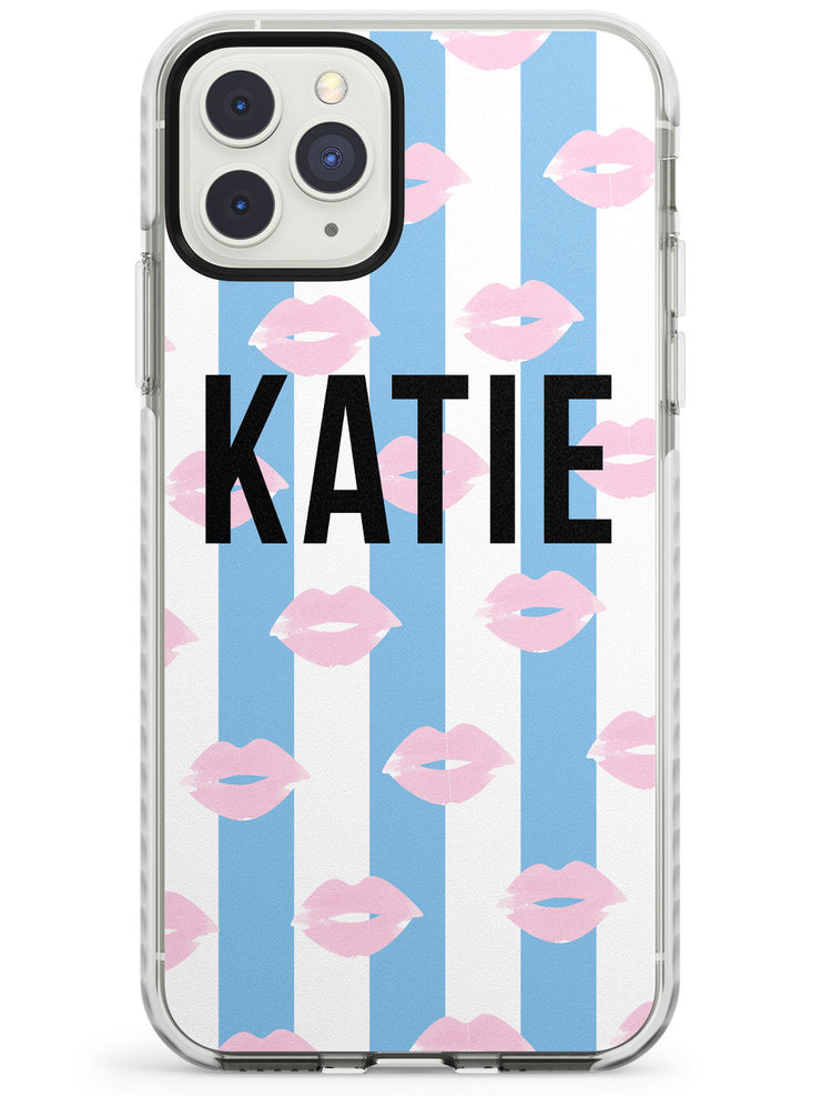 Blue Stripes & Lips iPhone Case by Case Warehouse ®
