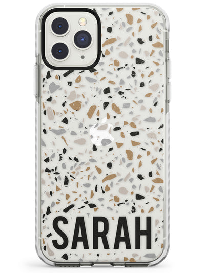 Customised Terrazzo - Grey, Brown, Cream Impact Phone Case for iPhone 11 Pro Max