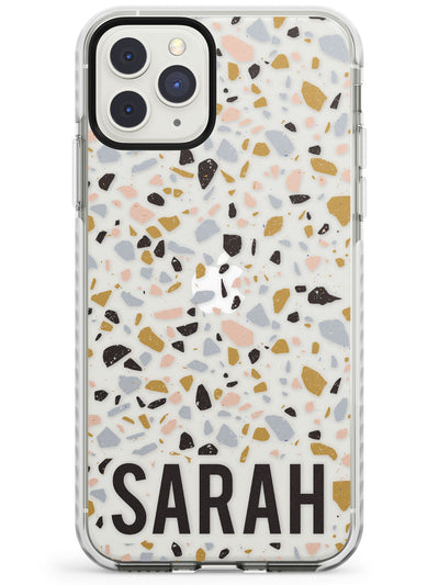 Customised Terrazzo - Blue, Gold, Black Impact Phone Case for iPhone 11 Pro Max