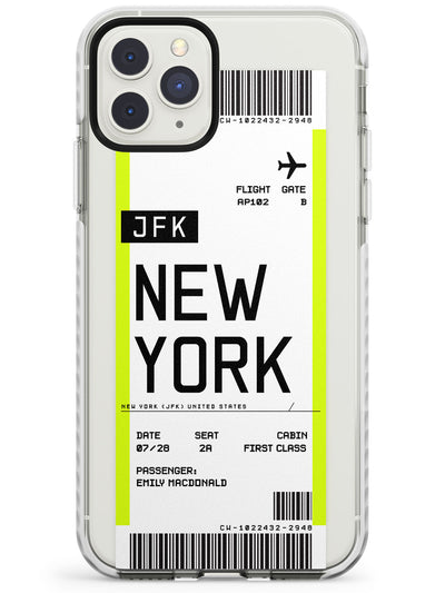 New York Boarding Pass iPhone Case  Impact Case Custom Phone Case - Case Warehouse