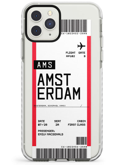 Amsterdam Boarding Pass iPhone Case  Impact Case Custom Phone Case - Case Warehouse