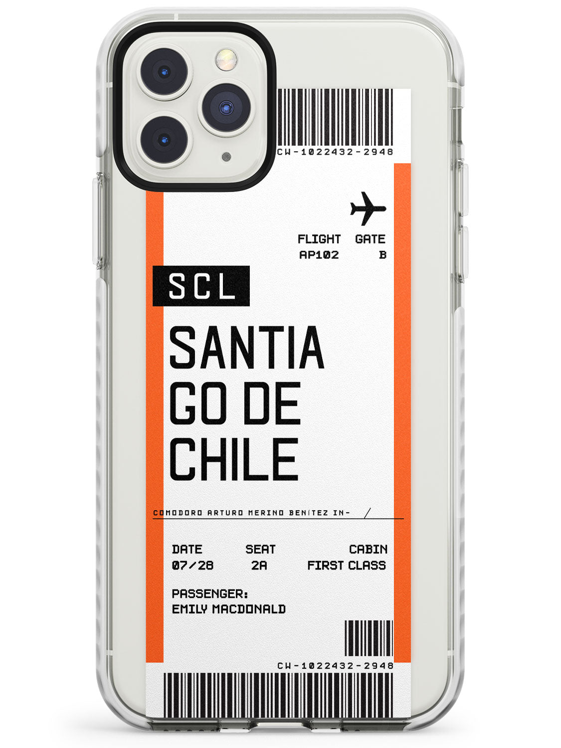 Santiago De Chile Boarding Pass iPhone Case