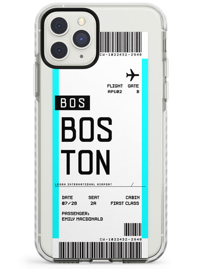Boston Boarding Pass iPhone Case  Impact Case Custom Phone Case - Case Warehouse