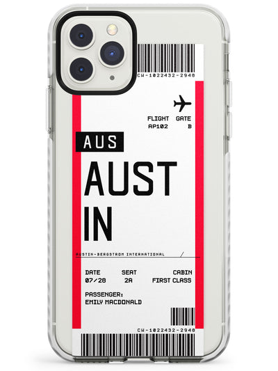 Austin Boarding Pass iPhone Case  Impact Case Custom Phone Case - Case Warehouse