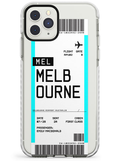 Melbourne Boarding Pass iPhone Case  Impact Case Custom Phone Case - Case Warehouse