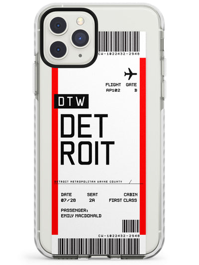 Detroit Boarding Pass iPhone Case  Impact Case Custom Phone Case - Case Warehouse