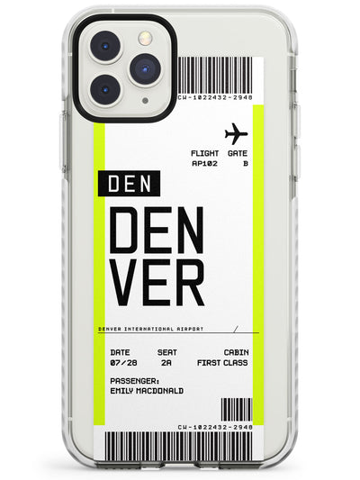 Denver Boarding Pass iPhone Case  Impact Case Custom Phone Case - Case Warehouse