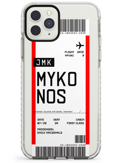 Mykonos Boarding Pass iPhone Case  Impact Case Custom Phone Case - Case Warehouse