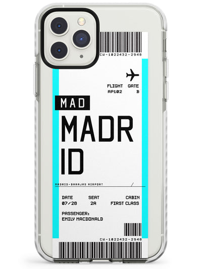 Madrid Boarding Pass iPhone Case  Impact Case Custom Phone Case - Case Warehouse