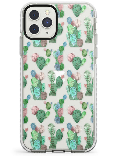 White Cactus Pattern Design Impact Phone Case for iPhone 11 Pro Max