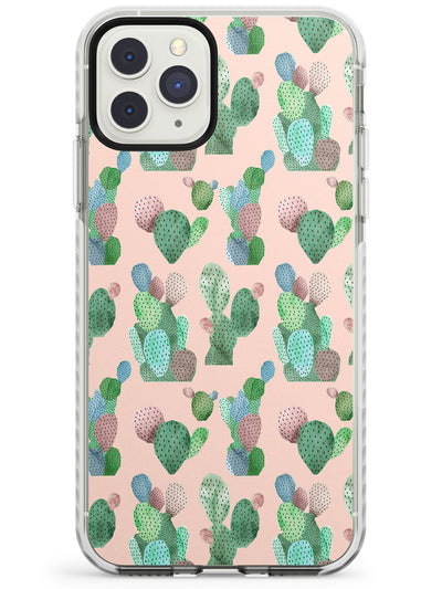 Pink Cactus Pattern Design Impact Phone Case for iPhone 11 Pro Max