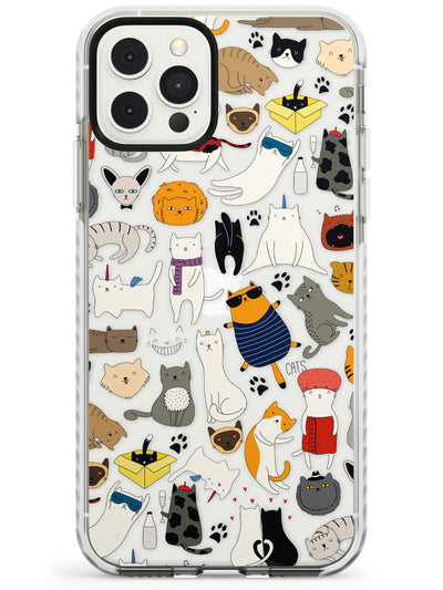 Cartoon Cat Collage iPhone Case  Impact Case Phone Case - Case Warehouse