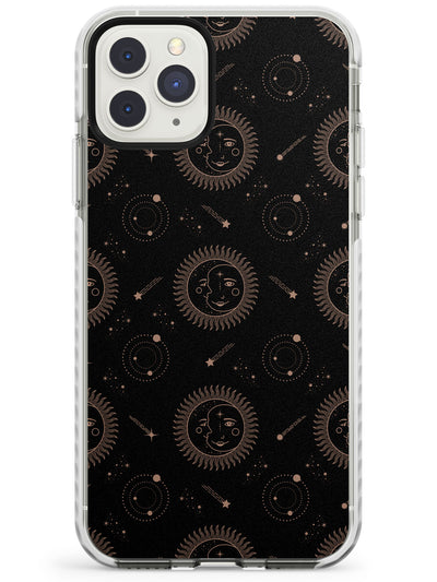 Moon/Sun Face (Black) Impact Phone Case for iPhone 11 Pro Max