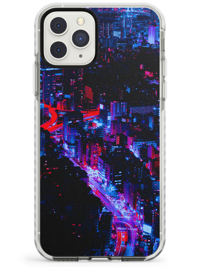 Arial City View - Neon Cities Photographs Impact Phone Case for iPhone 11 Pro Max