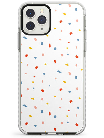 Confetti Print on Solid White Impact Phone Case for iPhone 11 Pro Max