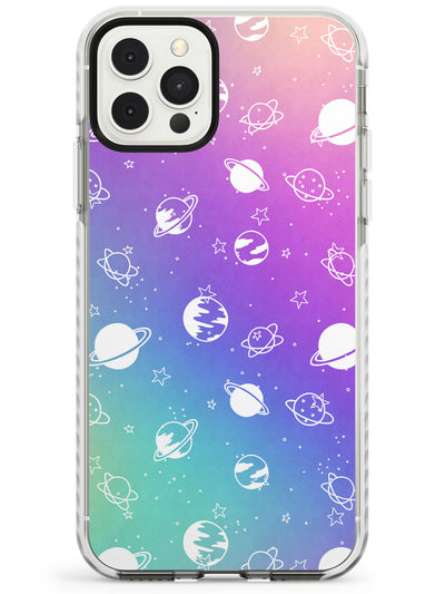 White Planets on Pastels iPhone Case  Impact Case Phone Case - Case Warehouse