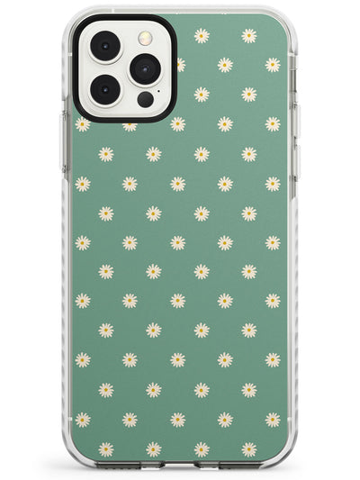 Daisy Pattern - Teal Cute Floral Daisy Design Slim TPU Phone Case for iPhone 11 Pro Max