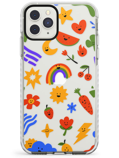 Mixed Large Kawaii Icons - Clear iPhone Case Impact Phone Case Warehouse 11 Pro Max