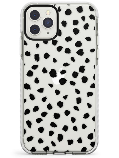 Black on Transparent Dalmatian Polka Dot Spots Impact Phone Case for iPhone 11 Pro Max