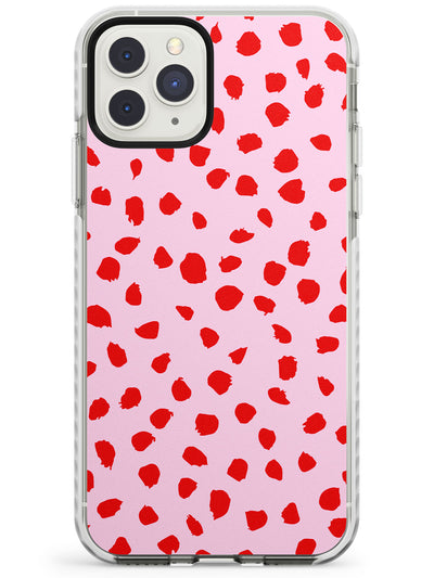 Red on Pink Dalmatian Polka Dot Spots Impact Phone Case for iPhone 11 Pro Max