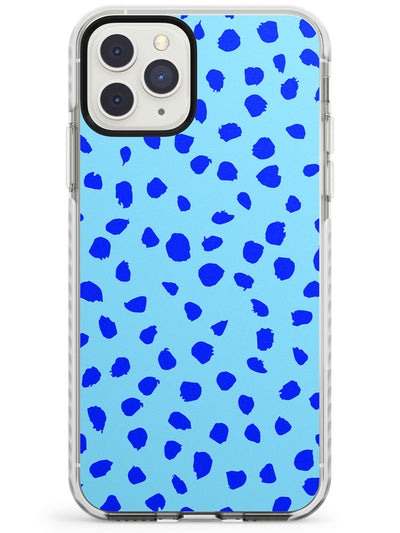 Blue on Turquoise Dalmatian Polka Dot Spots Impact Phone Case for iPhone 11 Pro Max