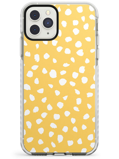 White on Yellow Dalmatian Polka Dot Spots Impact Phone Case for iPhone 11 Pro Max