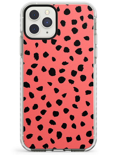 Black on Salmon Pink Dalmatian Polka Dot Spots Impact Phone Case for iPhone 11 Pro Max