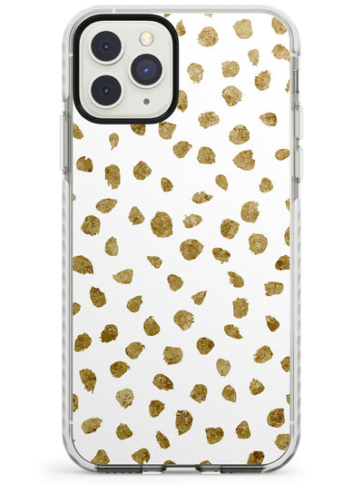 Gold Look on White Dalmatian Polka Dot Spots Impact Phone Case for iPhone 11 Pro Max
