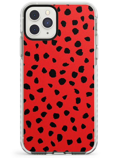 Black on Red Dalmatian Polka Dot Spots Impact Phone Case for iPhone 11 Pro Max