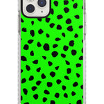 Black & Lime Green Dalmatian Polka Dot Spots iPhone Case