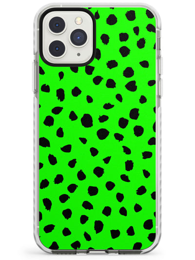 Black & Lime Green Polka Dot iPhone Case  Impact Case Phone Case - Case Warehouse