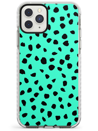 Black & Teal Dalmatian Polka Dot Spots Impact Phone Case for iPhone 11 Pro Max