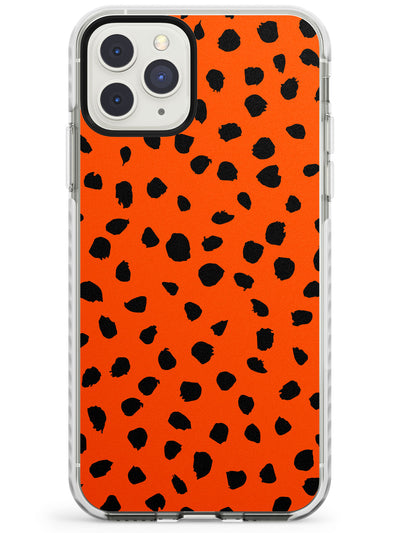 Black & Bright Red Dalmatian Polka Dot Spots Impact Phone Case for iPhone 11 Pro Max