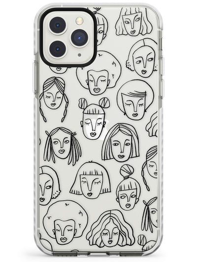 Girl Portrait Doodles Impact Phone Case for iPhone 11 Pro Max